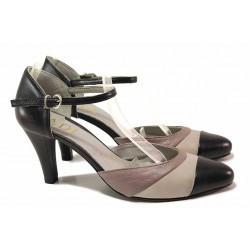 Стилни дамски обувки, естествена кожа, анатомични, катарама, среден ток, актуални цветове / Ани 31504 черен-сив / MES.BG