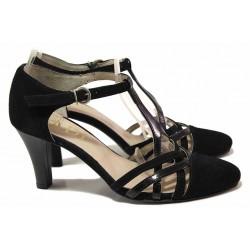 Стилни дамски обувки, естесвен велур и лак, удобен среден ток, катарама, анатомични / Ани 31506 черен / MES.BG