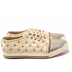 Спортни дамски обувки, естествена кожа, анатомични, връзки, български / Ани 1775 бежов / MES.BG