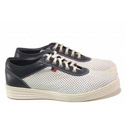 Равни дамски обувки, естествена кожа, перфорации, връзки, анатомични / Ани 2006 бял / MES.BG