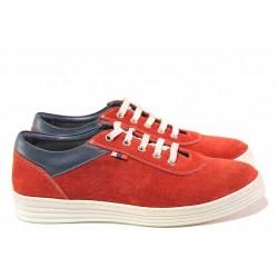 Анатомични дамски обувки, равни, естествен велур, връзки, ежедневни / Ани 2006 червен / MES.BG