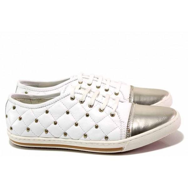 Ежедневни дамски обувки, спортни, естествена кожа, анатомични, удобни / Ани 1775 бял / MES.BG