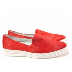 Равни дамски обувки, естествен велур, анатомични, атрактивен модел / Ани 2137-пони червен / MES.BG