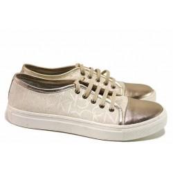 Спортни обувки, дамски, релефна естествена кожа, анатомични, ежедневни / Ани 1775 златен-бежов / MES.BG