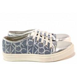 Ежедневни спортни обувки, естествена кожа с релеф, дамски / Ани 1775 сребро-син / MES.BG