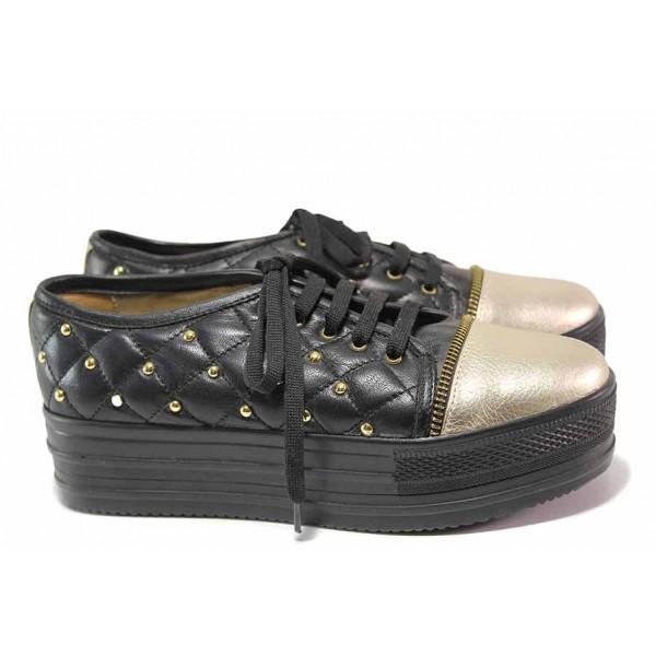 Спортни дамски обувки, естествена кожа, анатомични, платформа / Ани 1775 черен / MES.BG