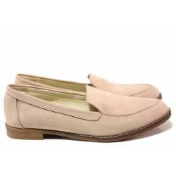 Анатомични обувки, дамски, естествена кожа, мокасини, български / Ани Ambro-04 пудра / MES.BG