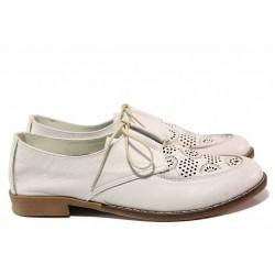 Равни дамски обувки, летни, естествена кожа, перфорации, анатомични, български / Ани Ambro-02 лилав / MES.BG