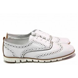 Ежедневни дамски обувки, равни, летни, естествена кожа с перфорации, анатомични / Ани ALEX-02 бял / MES.BG