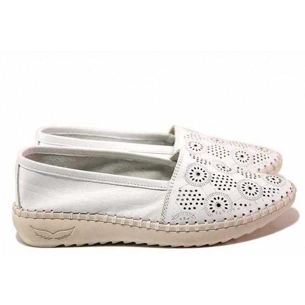 Равни дамски обувки, летни, еспадрили, анатомични, естествена кожа, перфорация, български / Ани ALLES-02 бял / MES.BG