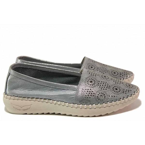 Анатомични дамски обувки, естествена кожа с перфорации, равни, еспадрили, летни / Ани ALLES-02 син / MES.BG