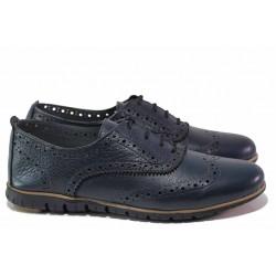 Равни дамски обувки, анатомични, естествена кожа, български, връзки / Ани ALEX-02 син / MES.BG