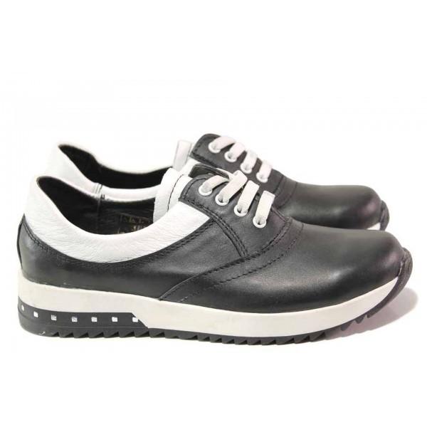 Български спортни обувки, естествена кожа, анатомично ходило / Ани 313 OMEGA черен / MES.BG