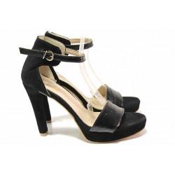 Стилни дамски сандали със затворена пета, естествени велур и лак, облечен ток, катарама / Ани 72941 черен / MES.BG