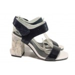 Ефектни дамски сандали с мраморен ток, естествена кожа, велкро закопчаване / Ани 2656 син / MES.BG