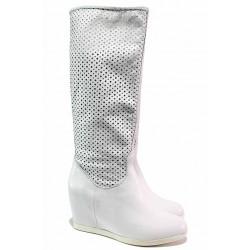 Летни ботуши, бели, висока платформа, естествена кожа / Ани Brillo 2023 бял / MES.BG