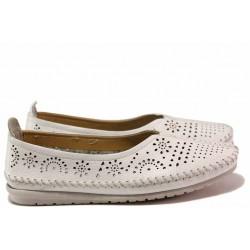 Български дамски обувки, естествена кожа с перфорация, олекотено ходило / Ани 1710 бял / MES.BG