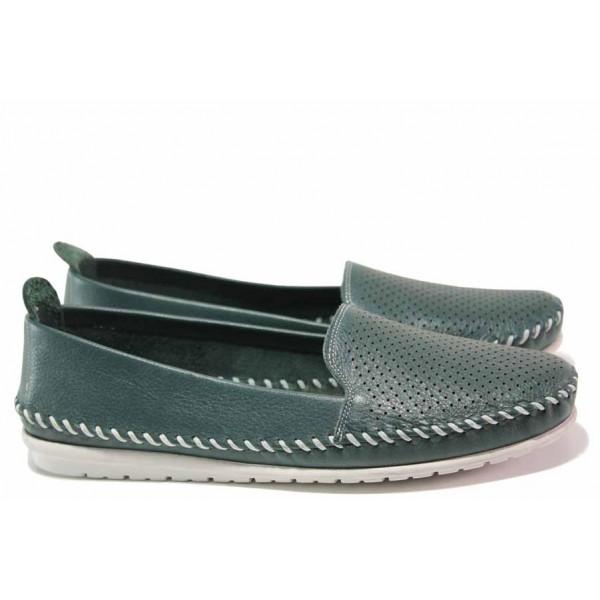 Равни дамски обувки, анатомично ходило, естествена кожа / Ани 1705 зелен / MES.BG