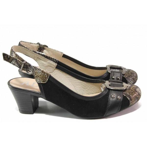 Анатомични дамски обувки, среден ток, катарама, отворена пета / Ани 61542 черен / MES.BG