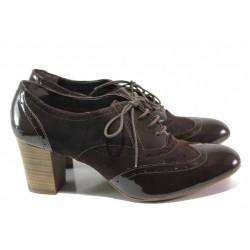 Български анатомични обувки, висок ток, естествени велур и лак / Ани 1474 кафяв / MES.BG