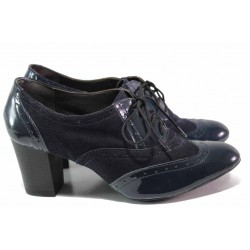 Български анатомични обувки, връзки, естествени велур и лак / Ани 1474 син / MES.BG