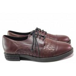 Български анатомични обувки с ефектен ток, връзки, естествена кожа / Ани 2726 бордо кроко / MES.BG