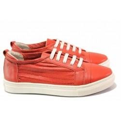 Български спортни обувки с връзки, естествена кожа, еластично ходило / Ани 2322 червен / MES.BG