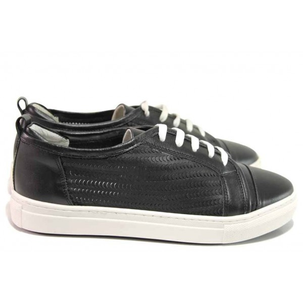 Дамски спортни обувки, естествена кожа, закопчаване-връзки / Ани 2322 черен / MES.BG