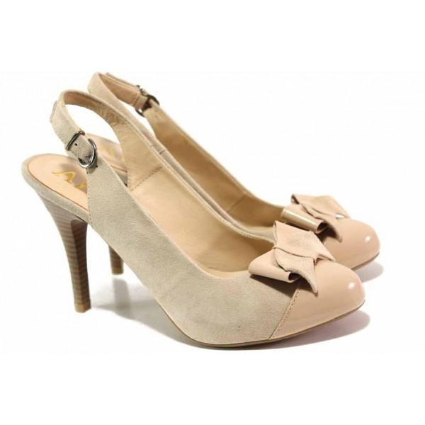 Български дамски обувки с декоративен елемент, отворена пета, висок ток / Ани 51902 бежов-розов / MES.BG