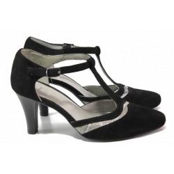 Стилни дамски обувки, висококачествен естествен велур, висок ток / Ани 51600 черен / MES.BG
