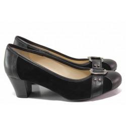 Анатомични дамски обувки, естествена кожа, среден ток / Ани 61540 черен / MES.BG