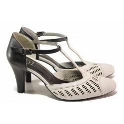 Български дамски сандали, естествена кожа, катарама, перфорация / Ани 51601 бял-черен / MES.BG