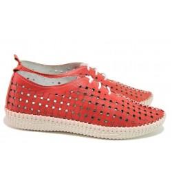 Анатомични летни обувки на дупки, естествена кожа, връзки / Ани NORA-05B червен / MES.BG
