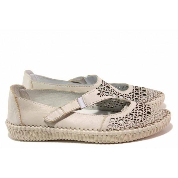Анатомични летни обувки с велкро лепенка, естествена кожа с перфорация / Ани NORA-01A бежов / MES.BG