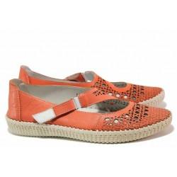 Анатомични летни обувки, естествена кожа с перфорация, велкро лепенка / Ани NORA-01A корал / MES.BG
