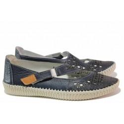 Летни дамскии обувки, естествена кожа, олекотено ходило / Ани NORA-01A син / MES.BG
