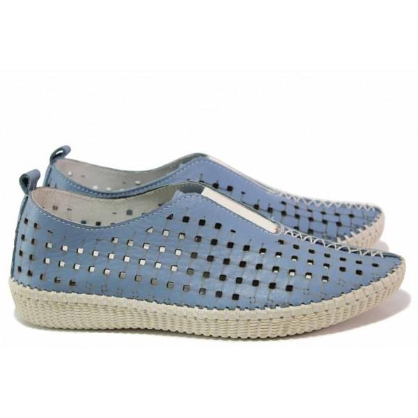 Равни дамскии обувки, летни, перфорация, естествена кожа, ластик / Ани NORA-04А св.син / MES.BG