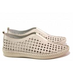 Български анатомични обувки, естествена кожа на перфорация, закопчаване-ластик / Ани NORA-04А бежов / MES.BG