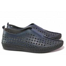 Български анатомични обувки на дупки, естествена кожа, ластик / Ани NORA-04А т.син / MES.BG