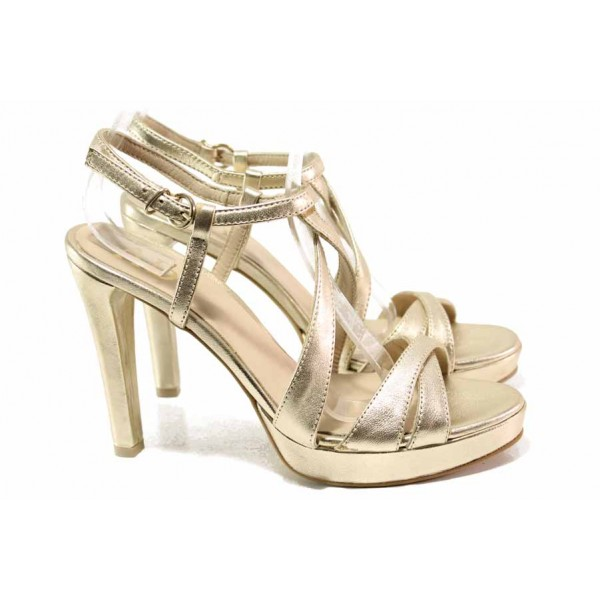 Елегантни дамски сандали, абитуриентски, естествена кожа, висок ток / Ани 72940 злато / MES.BG