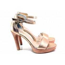 Ефектни дамски сандали от естествена кожа, затворена пета / Ани 72941 купър-розов / MES.BG