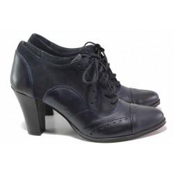 Анатомични дамски обувки, естествени велур и кожа, връзки при свода / Ани 53740 син / MES.BG