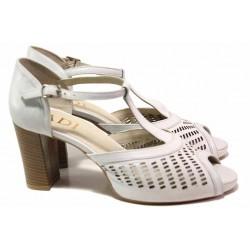 Български анатомични сандали от естествена кожа, затворена пета, стабилен ток / Ани 51705 бял / MES.BG