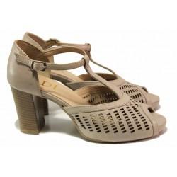 Български анатомични сандали, затворена пета, естествена кожа, стабилен ток / Ани 51705 бежов / MES.BG