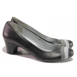 Анатомични дамски обувки с интересен дизайн, естествена кожа, среден ток / Ани 71500 черен / MES.BG