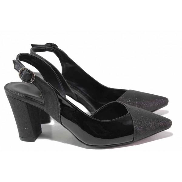 Стилни дамски обувки с отворена пета, висок ток, катарама / ФА 468 черен / MES.BG