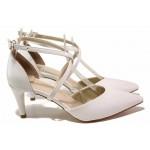 Стилни дамски обувки, висок ток, две кръстосани каишки при свода, катарама / ФА 548-10 бял / MES.BG