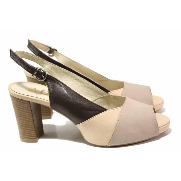 Български дамски сандали, висок ток, естествена кожа / Ани 51702 пудра-кафе / MES.BG
