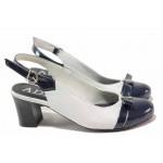 Анатомични дамски обувки, естествени кожа и лак, отворена пета / Ани 71555 бял-син / MES.BG