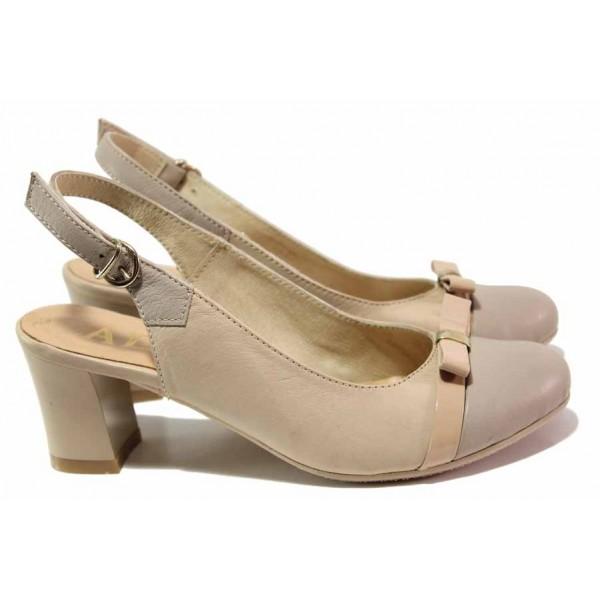 Стилни дамски обувки с отворена пета, естествена кожа с естествен лак, катарама / Ани 71555 бежов / MES.BG